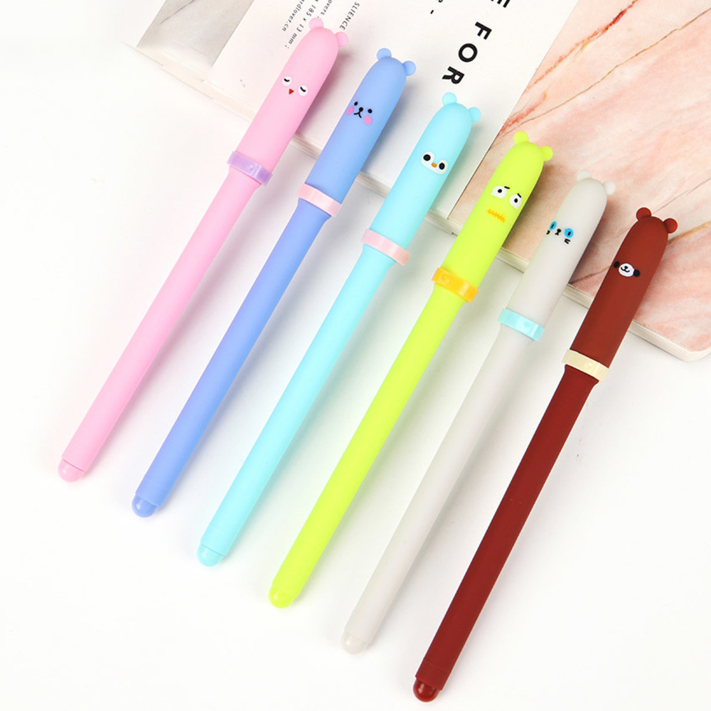 BP3PCS Cartoon Animal Gel Pen 6 Color Kawaii Stationery Pens Creative Gift Signing Pen Office School Supplies WJ-SMT95 3 pcs lot new cartoon colorful owl gel pen set kawaii stationery creative gift school office supplies 04085
