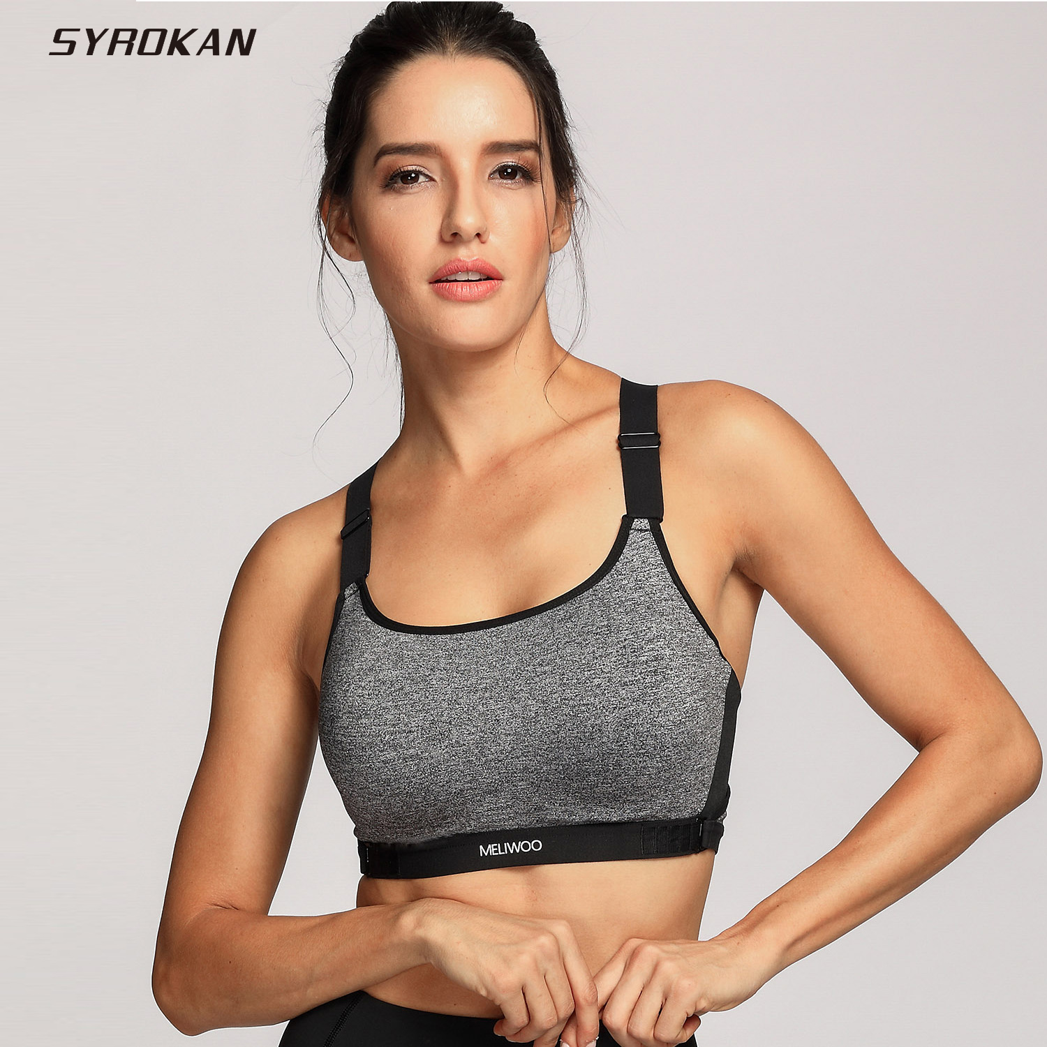 SYROKAN Women's High Impact Padded Racerback Ultra Support Pro Sports Bra недорго, оригинальная цена