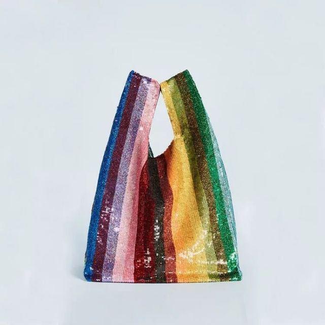 Bolsas de luxo Colorful Rainbow Lantejoulas Totes Mulheres Sacos de Embreagem Saco de Festa À Noite Senhoras Saco de Praia Banquete Brilho Tote Tarja