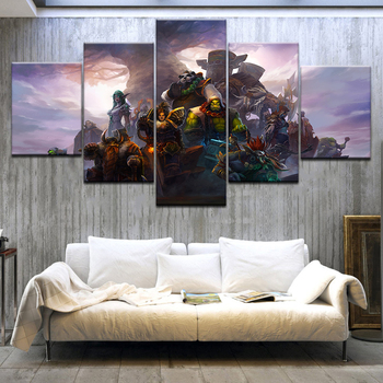 Canvas Oil Printed Painting 5 Panel Wall Art Picture DOTA 2 Vengeful Spirit Modular Artwork Framework For Living Room Bedroom
