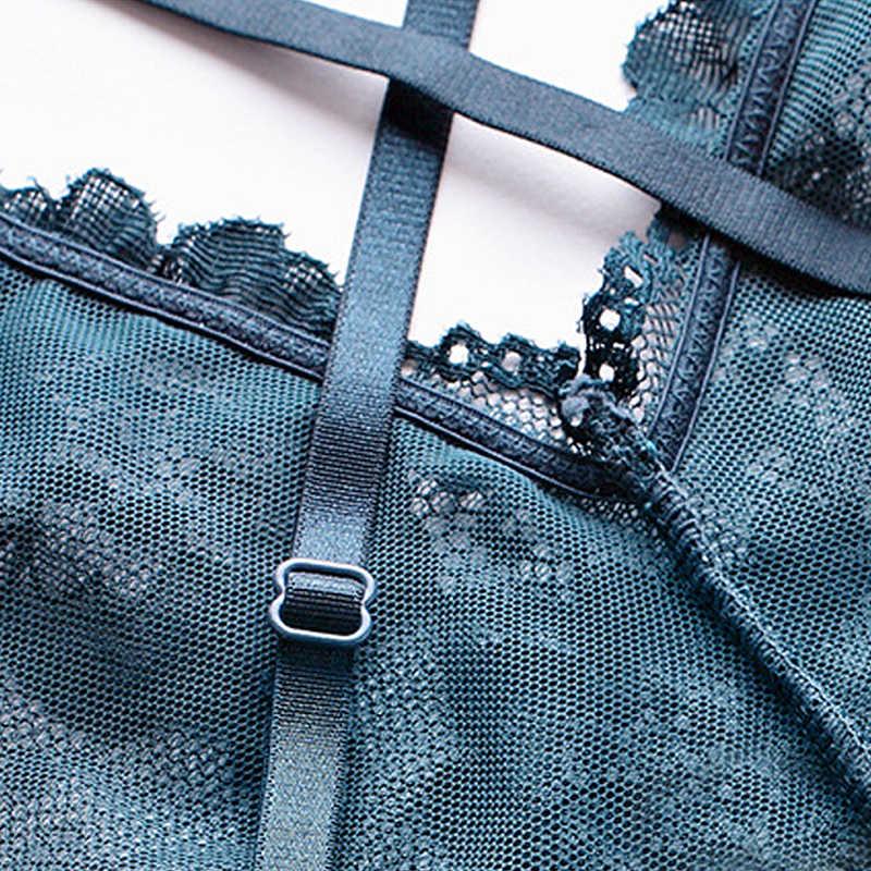 בגד גוף נשים שקוף תחרה פרחוני כותנה מפשעה רייסר חזרה כרית משלוח חוט משלוח מקשה אחת נשים לא ספוג תחתון סגירה