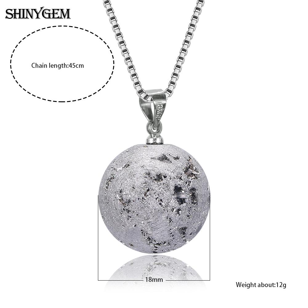 ShinyGem Mineral Crystal Ball Necklaces Gold Silver Natural Druzy Stone Necklaces Moon Planet Ball Pendant Necklaces For Women in Pendant Necklaces from Jewelry Accessories