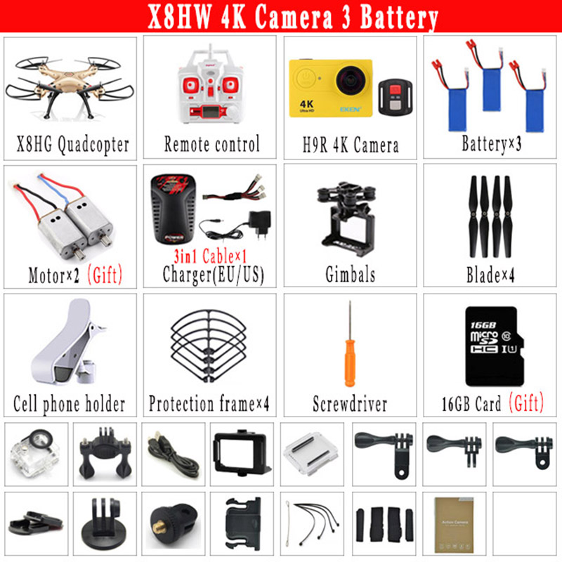 SYMA X8HW RC Drone with WiFi FPV OR H9R 4K HD Camera RC Quadcopter 2.4G 6-Axis Rotating High Hover RC Helicopter VS MJX BUGS 3 syma quadcopter high tech new 2 4g altitude hd camera rc drone 0 3mp wifi fpv live helicopter hover quadcopter drone may