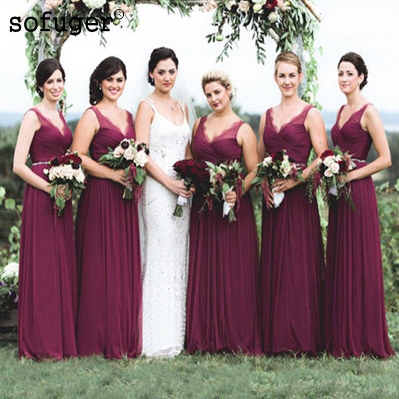 Grape Purple Elegant V Neck Tulle Pleat Special Occasion   Bridesmaid     Dresses   Formal Vestidos Wedding Party   Dresses