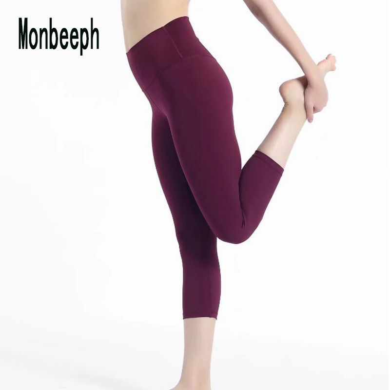 2019 Monbeeph high waist leggings stretch waist   pants     capris     pants   Pencil skinny   Pants   black blue green wine red   capris