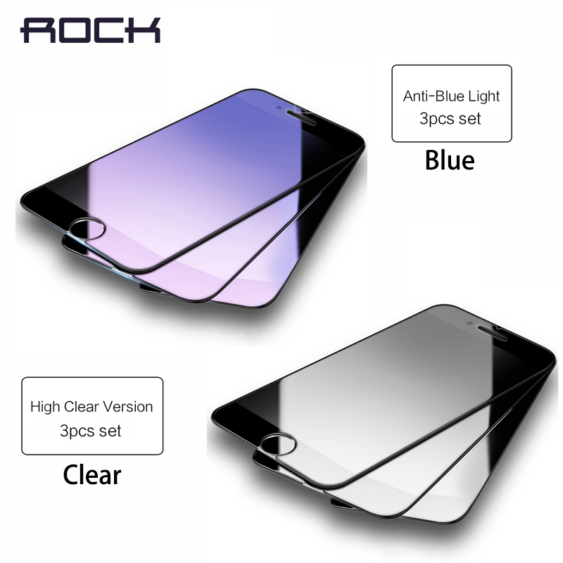 ROCK 3 STK 2 STK Herdet glass for iPhone 6 6S 7 8 Plus Blå Clear skjermbeskytter for iPhone 8 7 6 6s Pluss Filmglassbeskytter