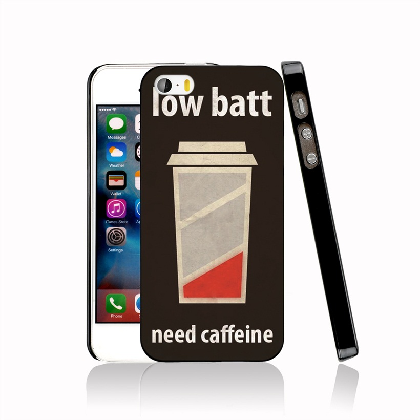 06714 Low Battery Need Caffeine Cover cell phone Case for iPhone 4 4S 5 5S SE 5C 6 6S 7 Plus