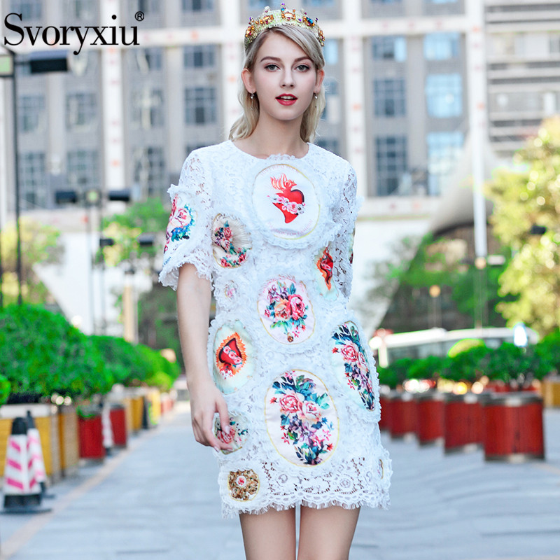 Svoryxiu Runway Summer Sexy White Lace Dress Women s Flower Appliques Elegant Hollow Out Embroidery Party