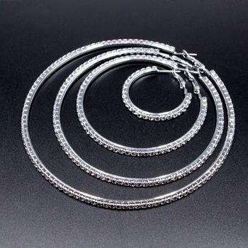 Pendientes de aro grandes con diamantes de imitación para mujer, 1 par, pendientes redondos, pendiente femenino, pendientes de aro simples elegantes a la moda, pendiente de aro, pendiente