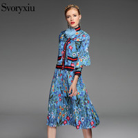 2017 Spring Summer Style Runway Designer Skirt Suit Appliques Button Mandarin Collar Flower Floral Print Leisure