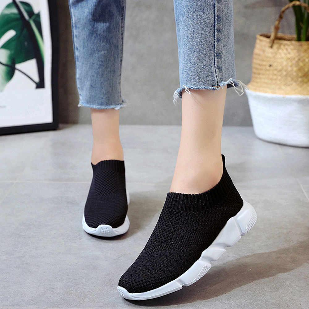 Vrouwen Platte Knittig Lente Sneakers Mode Slip Op Loafers Dames Gevulkaniseerd Schoenen Mesh Sneaker Wandelschoenen Chaussures Femme