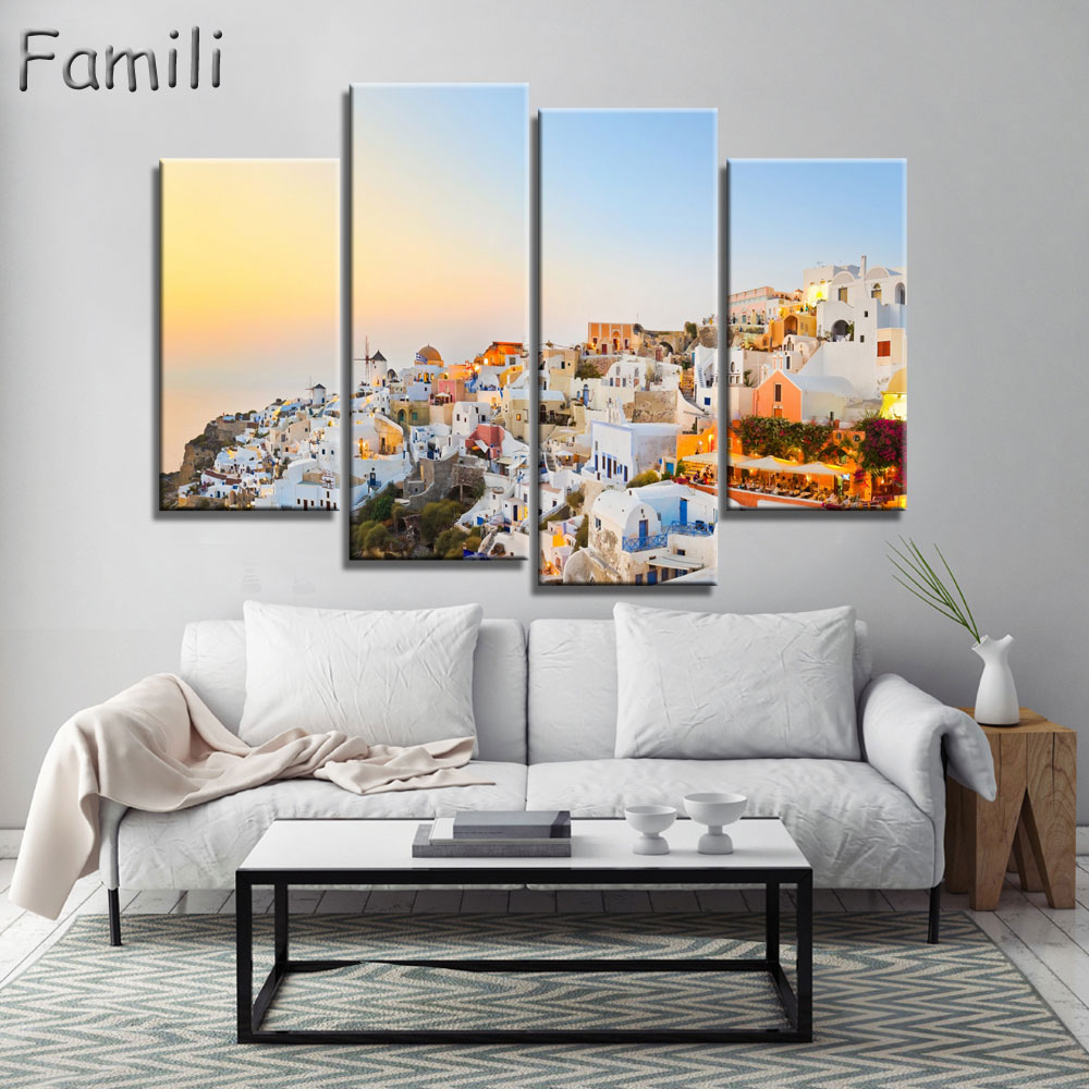 4 Piece Hot Sell Modern Wall Painting Art Picture Paint on Canvas Prints The classic beauty of the Greek island of Santorini image