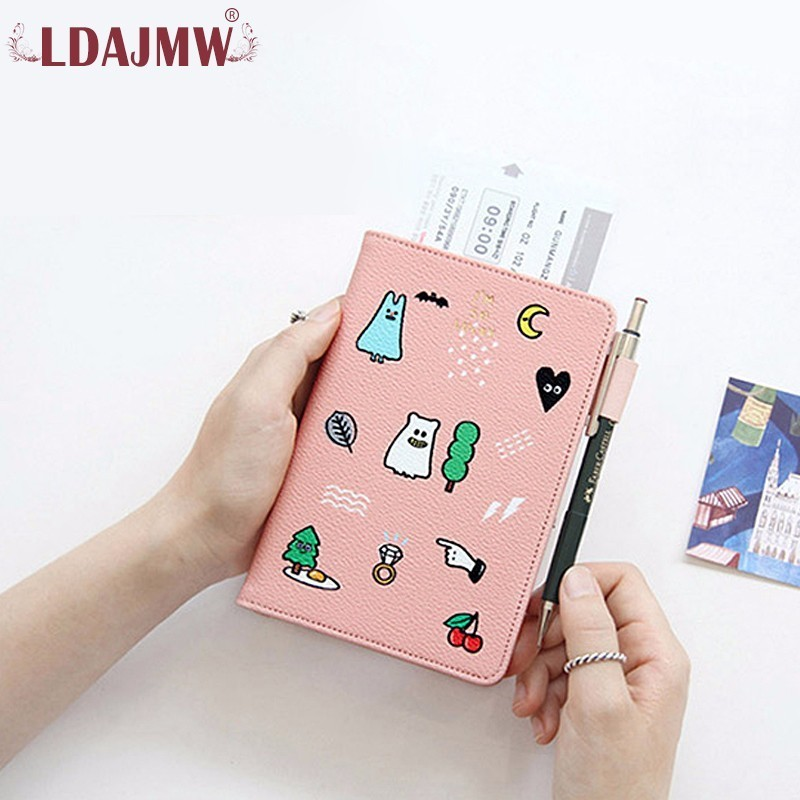 LDAJMW Women Cartoon PU Leather Travel Passport Cover Tickets Credit Card Holder Travel Accessories Passport Holder 3d skull floral pu leather passport cover wallet travel function credit card package id holder storage money organizer clutch