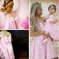 Novo Jordan Criança Rendas Cummunion Vestidos Rosa Cinderela Vestido de Concurso Vestidos de Partido Do Bebê Vestido de Mãe e Filha Especial 2017