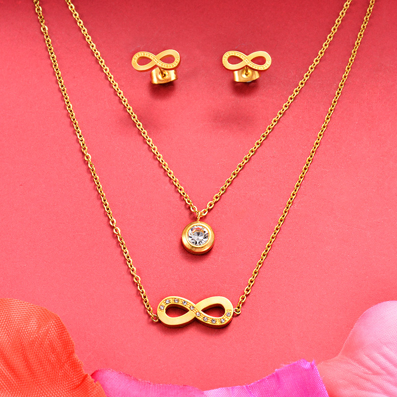 Baoyan 316l Stainless Steel Jewelry Gold Color Love Infinity Symbol