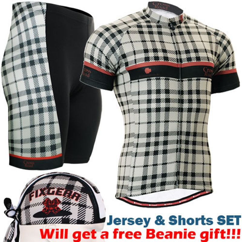 2018 short sleeve cycling jersey sets cool custom cycling clothing classic checked printed bike wear sports wear