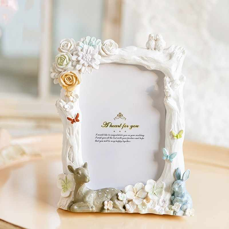 Cartoon Resin Picture Frame White Photo Frame Children Lovely Desktop Picture Frame Rabbit Deer  Picture Frame
