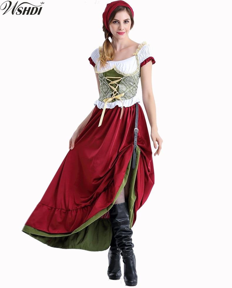 2018 High Quality German Beer Maid Peasant Dirndl Uniforms Oktoberfest Beer Girl Costume Halloween Cosplay Fancy Long Dress