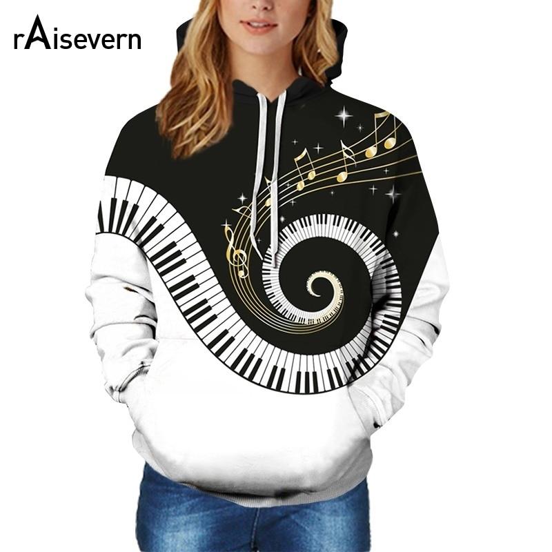 raisevern 2019 casais piano com capuz moda musica nota steetwear moletom pulover 3d harajuku camisolas de