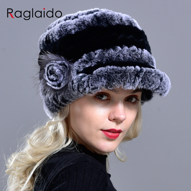 2015 Winter Woman Fur Cap Beanie Hats Visor Rex Rabbit Russian Fur Cap Brim 4cm High 22cm Warm Soft Headwear LQ11041
