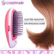 Ionic Electric Hairbrush, Portable Electric Ionic Hairbrush Negative Ions Hair Comb Brush Hair Modeling Styling Magic Hairbrush(China)
