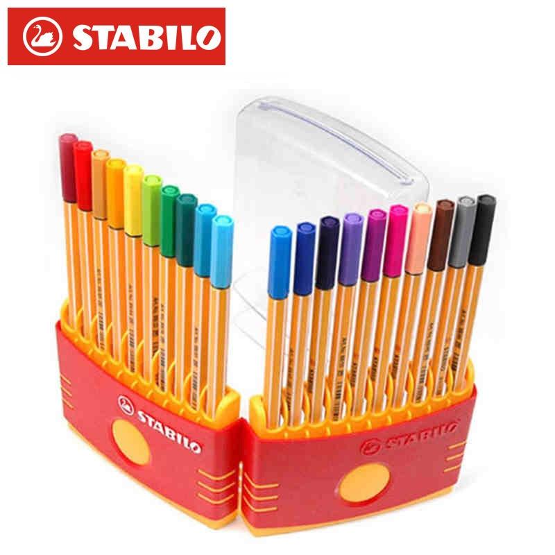 20 Colors Stabilo Point 88 Fineliner Pen Set Sketch Marker 0.4mm Ultra Fine Micron Pen Liner School Art Supplies Stabilo Caneta Art Markers     - title=
