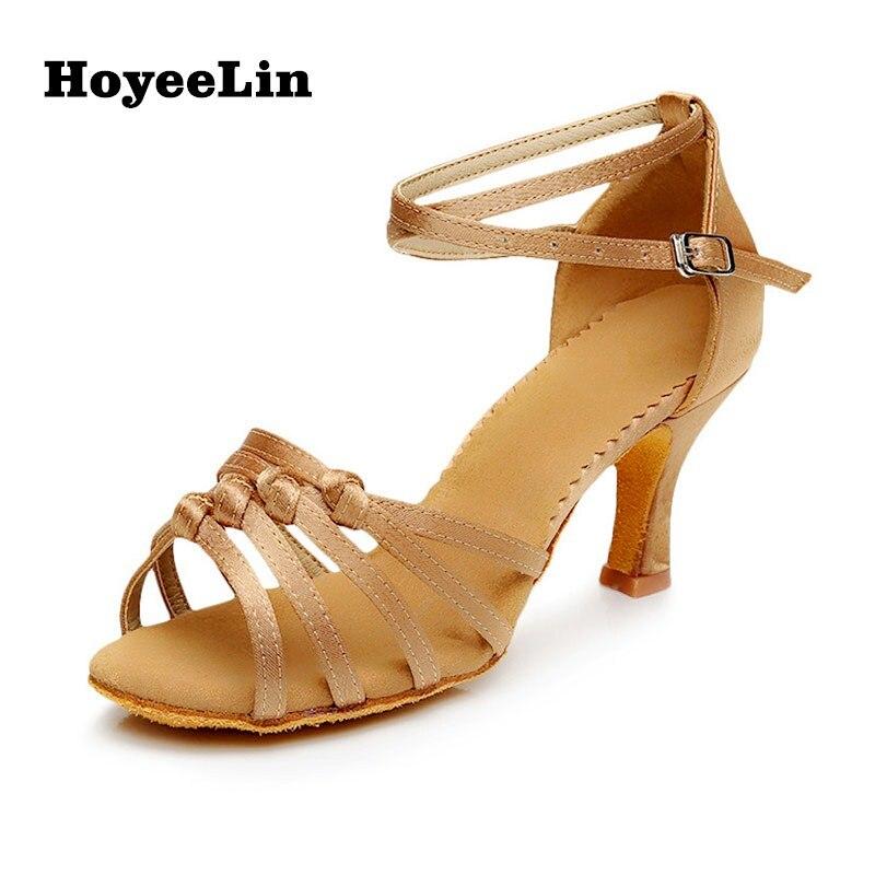 Adults Women Mid Heeled Satin Latin Dance Shoes Professional Tango Rumba Salsa Ballroom Party Dancing Sandals Shoes
