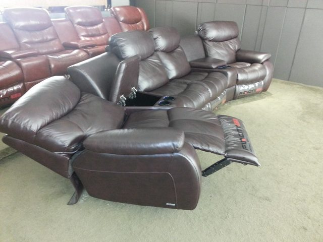 Living Room Sofa Recliner Cow Genuine Leather Real 4 Seater With Cupboard Storage Box