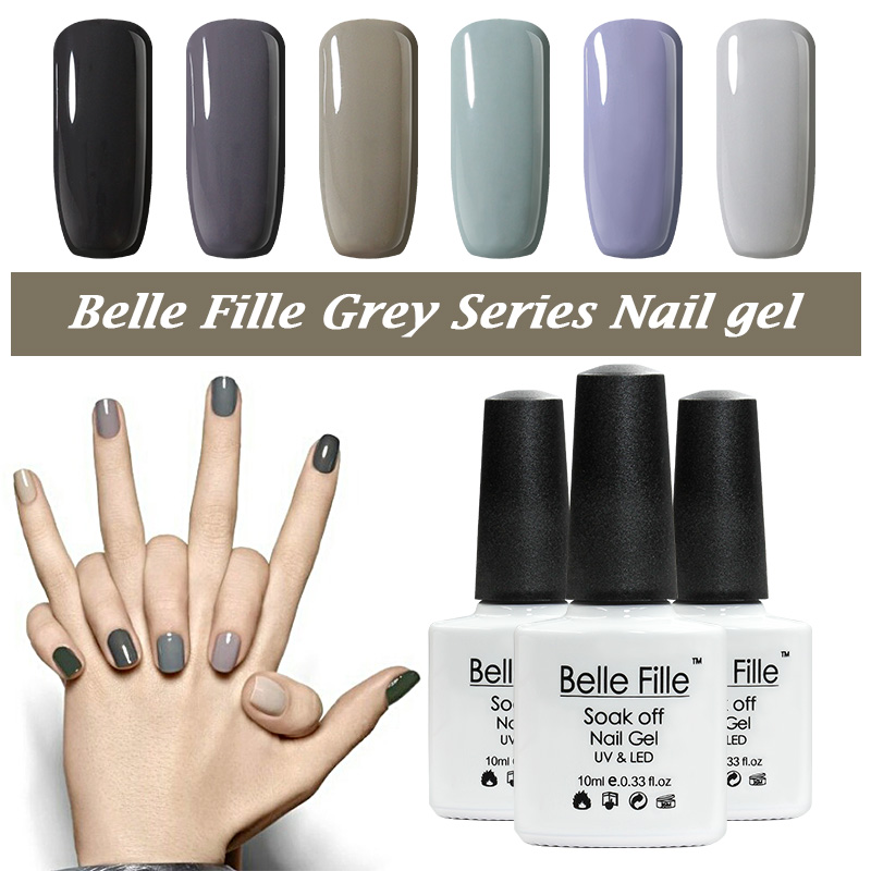 Belle Fille Nail Grey LED UV Uñas de gel Esmalte Nice Grey Series Gel Esmalte Color Gris Claro UV Gel Gris Oscuro Nail Gel Art