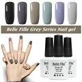 Belle Fille Gray Nail LED UV Nail Gel Polish Nice Grey Series Gel Polish Light Grey Color UV Gel Dark Grey Coat Nail Gel Art