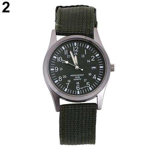 Cool Men Calendar Army Military Knitted Fabric Band Quartz Analog Wrist Watch Hot 5HQ6 men s military style fabric band analog quartz wrist watch black 1 x 377