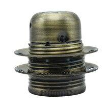 E27 винтажная розетка винт лампы баз два кольца держатель лампы античный подвесной металлический сплав покрытие лампа Разъем 4A 250 V подвесной светильник цоколь лампы 6 шт
