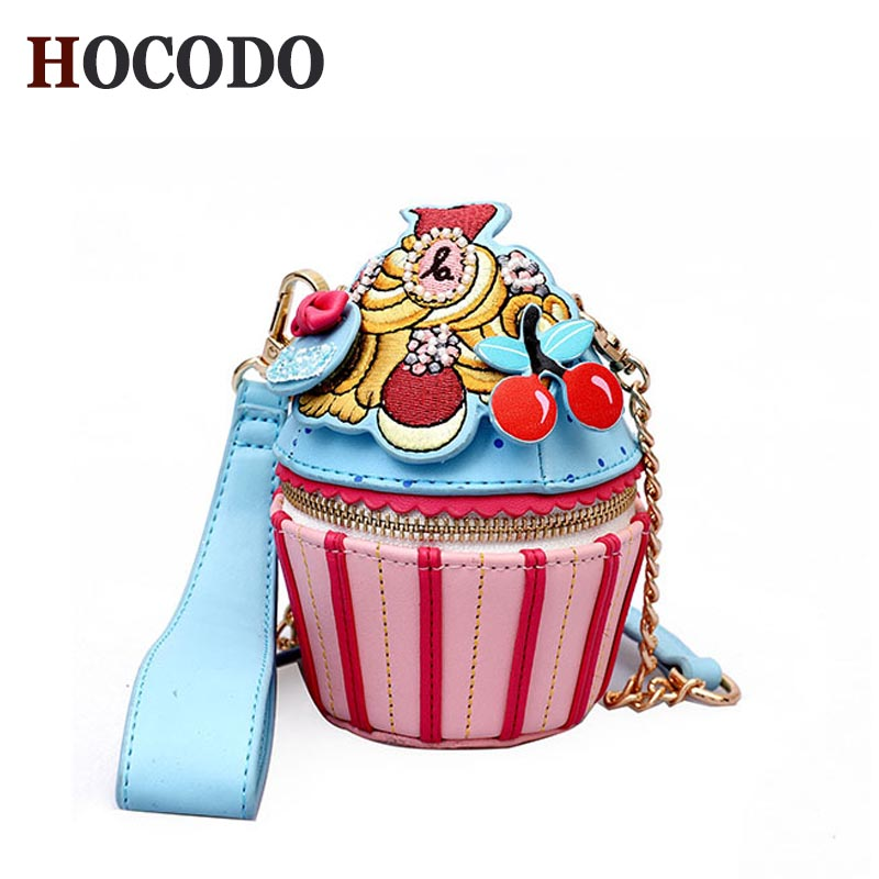 HOCODO Girly Wild Shoulder Bag Personality Ice Cream Cup Cartoon Women Messenger Bag Small Cupcake Shape Clutch Ladies Hand Bags