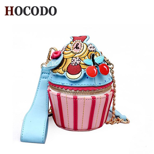 1a53dac3cfb23 HOCODO Girly Wild Shoulder Bag Personality Ice Cream Cup Cartoon Women  Messenger Bag Small Cupcake Shape