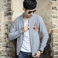 China style embroidery men sweater coat male slim fit knitted cardigan fashion casual zipper knitwear jacket D032