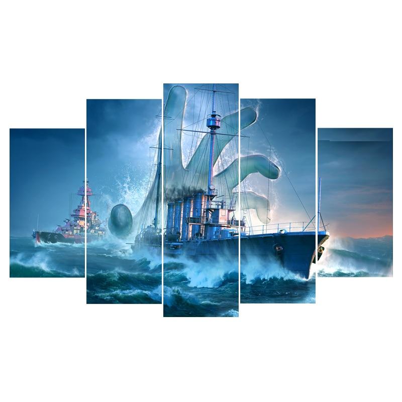 Art pintura cuadros 5 panel marino francés mundo de los buques de ...