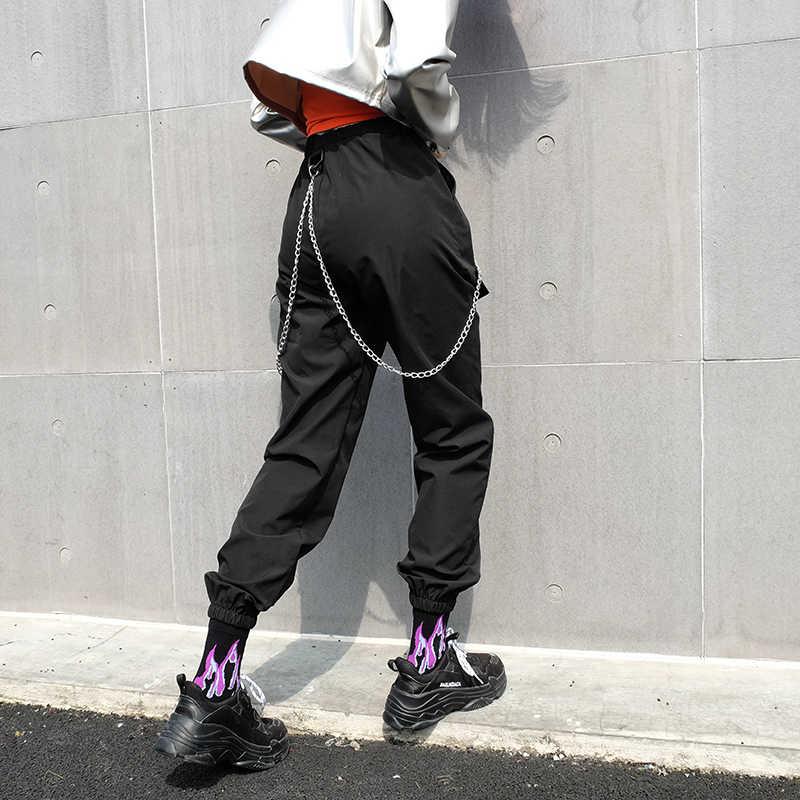 HEYounGIRL Hip Hop Patchwork cadenas Pantalones mujer elástico cintura alta negro pista pantalones Capris bordado carta Pantalones Mujer