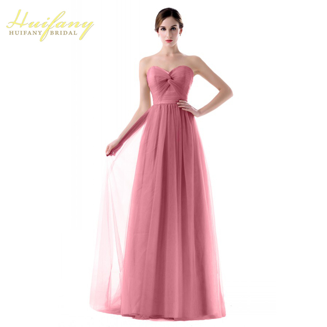 2017 Tulle Purple Green Lilac Yellow Pink Long Wedding Guest Dresses  Sweetheart Cheap Bridesmaid Dresses Plus Size Custom Made 6621c850cdbb