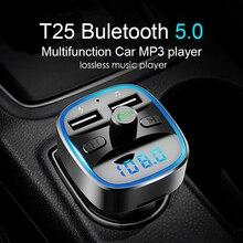 Bluetooth 5,0 FM передатчик Комплект беспроводной связи Bluetooth для автомобиля mp3 плеер уникальный дисплей экран Aux модулятор Handfree быстрое зарядное устройство