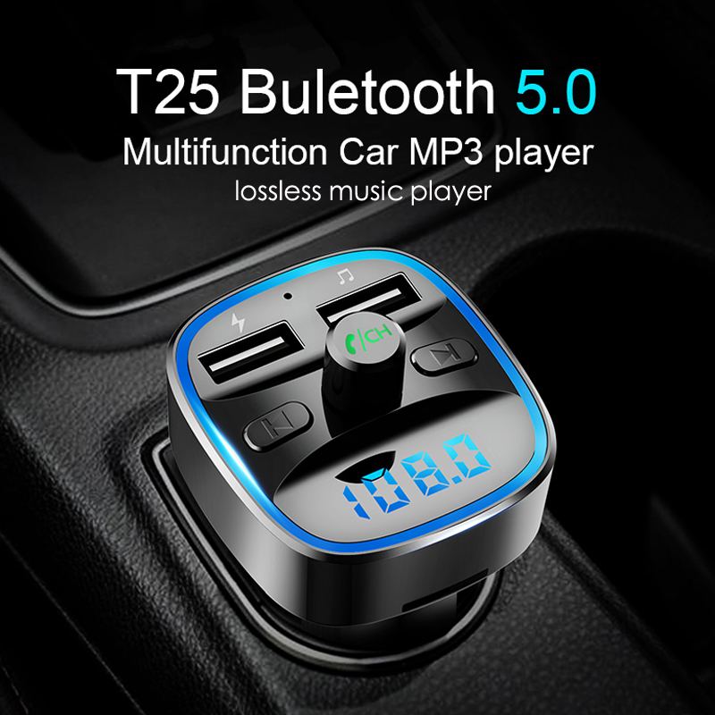 Bluetooth 5.0 FM Transmitter Wireless Bluetooth Car Kit Car MP3 Player Unique Display Screen Aux Modulator Handfree Fast Charger