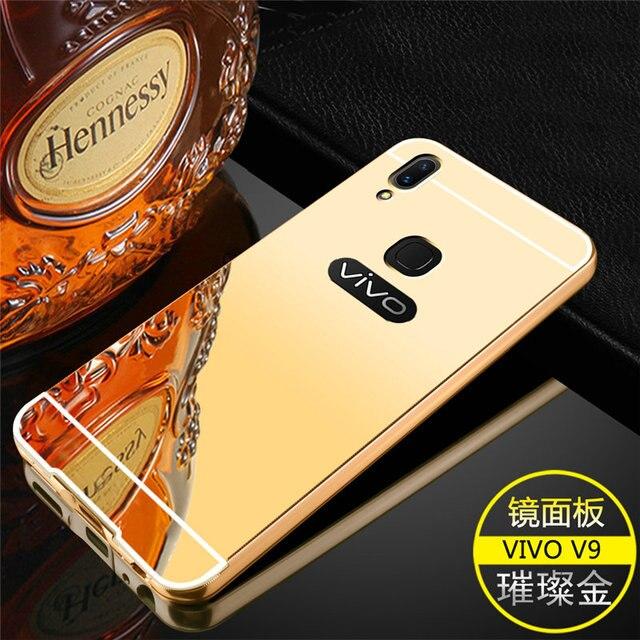 size 40 0f4d0 ae441 US $3.5 |Vivo Y85 v9 Case Acrylic Mirror PC Plate Back Cover + Arc Frame  Metal Bumper Frame For BBK Vivo V9 6.3inch Phone Cases Fundas-in Phone  Bumper ...