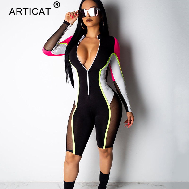 Articat Mesh Patchwork Zipper Sexy   Jumpsuit   Women 2019 Long Sleeve Skinny Rompers Womens   Jumpsuit   Casual Party Overalls Playsuit