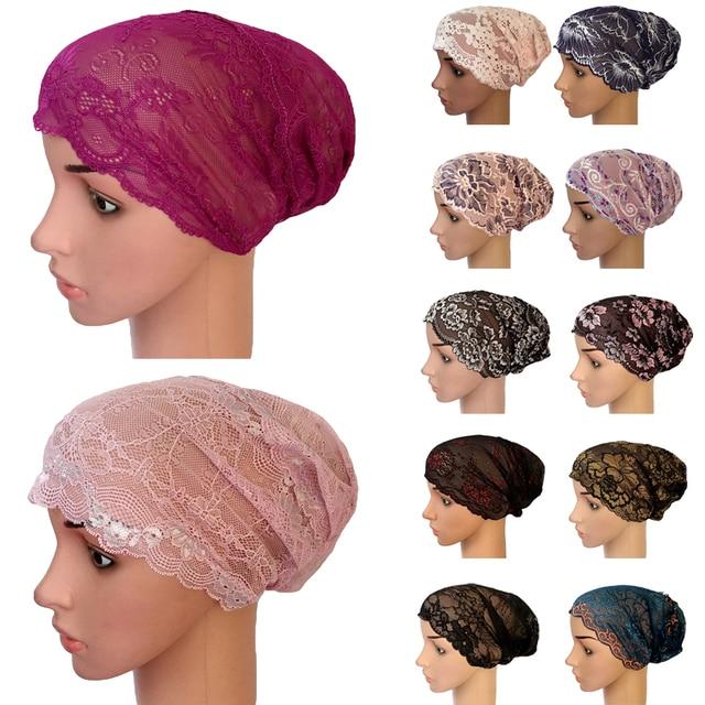 אופנה מלא כיסוי ראש פנימי כובע פרח תחרה מוסלמי כובע אסלאמי ראש ללבוש כובע Underscarf כפת Skullies הודי כובע מזדמן כובע