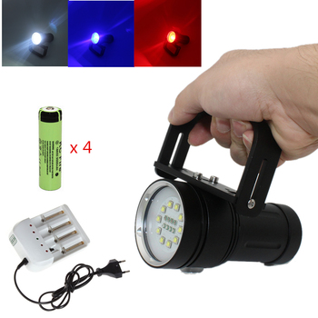 Underwater Photography Lights Video Lamp Diving Flashlight 10* L2 white + 4* XPE red + 4* blue light Torch with 18650 + Charger