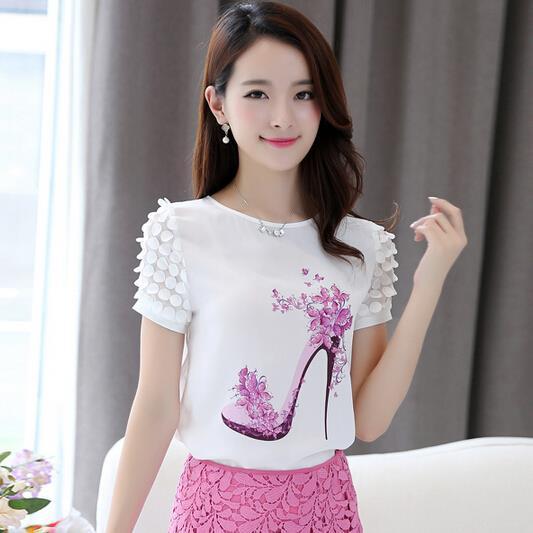 Top female summer new women slim shirts printing bottoming lace chiffon shirts blouse fashion