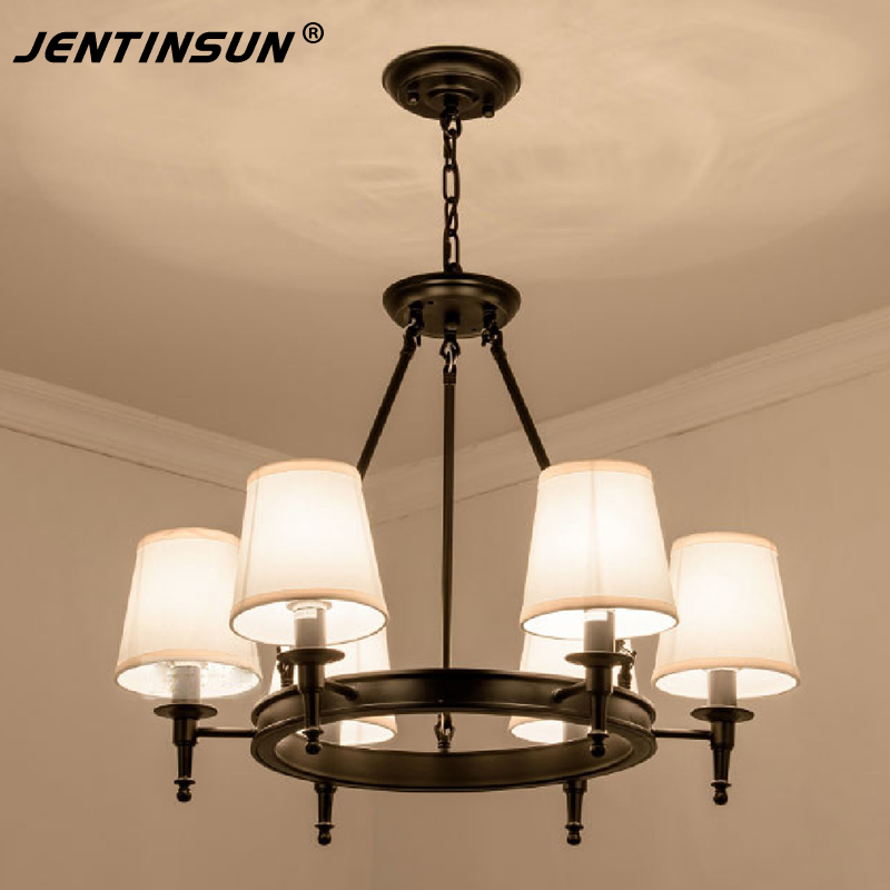 American Style Simple Iron Cloth Chandeliers Retro LED Indoor Lighting Metal Hanging Lamp for Living Room Study Bedroom Lamp led lamp creative lights fabric lampshade painting chandelier iron vintage chandeliers american style indoor lighting fixture