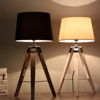 Nordic minimalist loft industrial style creative solid wood tripod design black decorative table lamp linen old craft fixtures