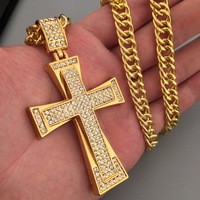 Iced Out Cross Necklace Yellow Gold Filled Zircons Large Crucifix Pendant Necklace Mens Cool Jewelry