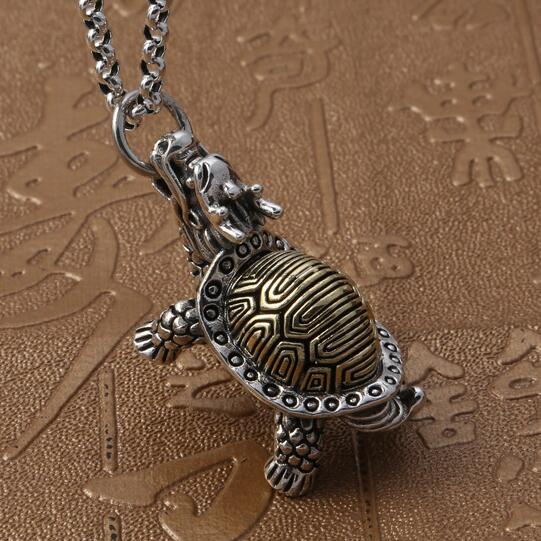 NEW 100% 925 Silver Necklace Pure Silver Longevity Turtle Pendant Necklace Good Luck Turtle Pendant Necklace