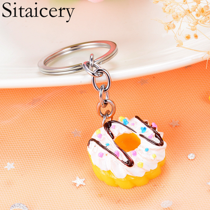 Sitaicery Acrylic Cake Food Keychain For Couples In Love Cute Keyholder Christmas Gift For Boyfriend Chaveiros Trinket Key Ring